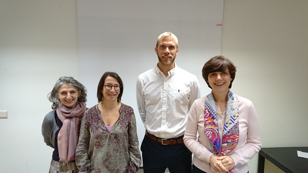 Monique Marrec-Fairley, Head of European Projects (BioWin); Florence Hennart, Economist (Service Public de Wallonie); Conor Harte (CIT) and Sylvie Ponchaut, Managing Director (BioWin) at a meeting hosted by the Service public de Wallonie on the 24/10/2017
